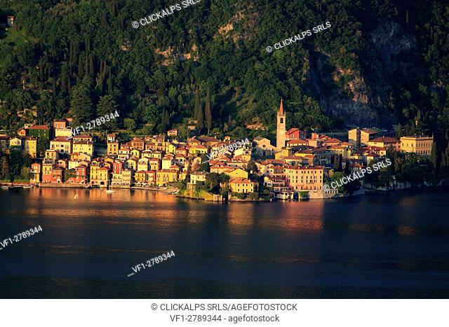 Varenna at sunset, Lake Como, Lecco province, Lombardy, Italy