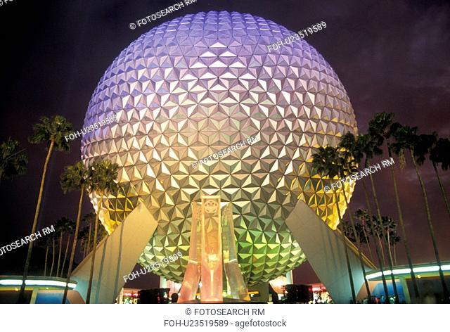 sphere, Epcot, Disney World, Orlando, FL, Lake Buena Vista, Florida, Spaceship Earth in Epcot Center illuminated at night at Walt Disney World in Lake Buena...