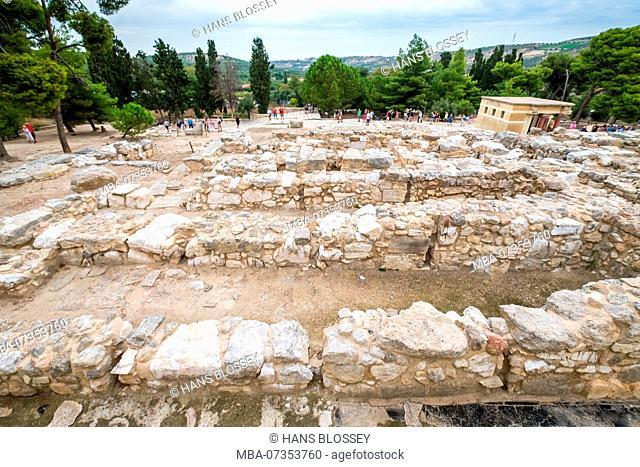 Parts of the Minoan temple complex of Knossos, Palace of Knossos, Knossos ancient city, Heraklion, Knossos, Crete, Greece, Europe