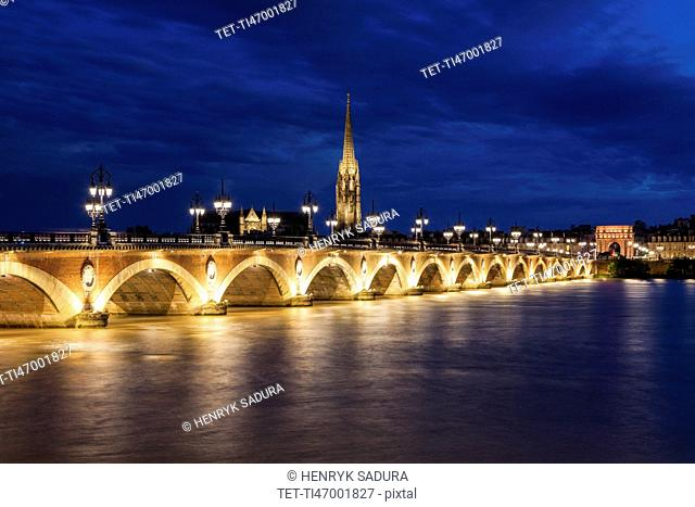 France, Nouvelle-Aquitaine, Bordeaux, Illuminated Pierre Bridge