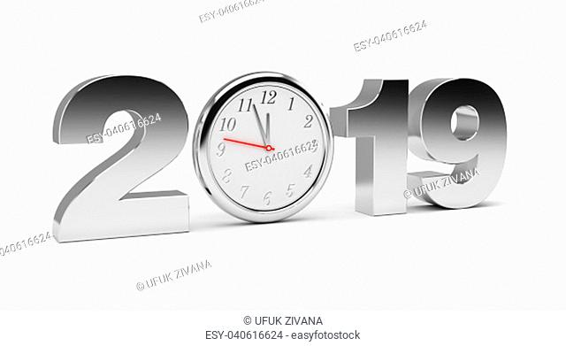 New Year 2019 (isolated on white background)