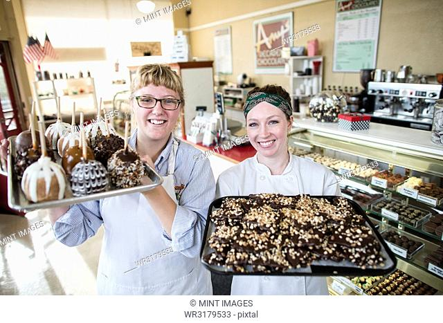 Portrait of Caucasian women co-owners of a candy shop