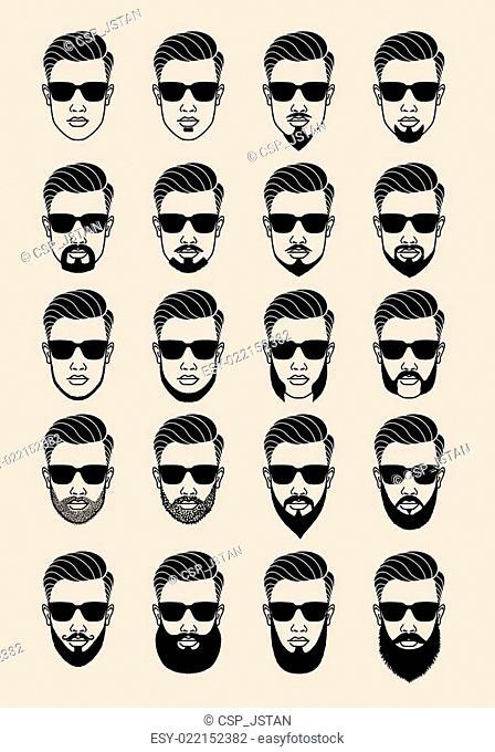 faces with beard, vector set