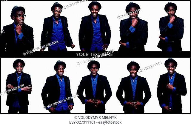 The collage from images of handsome young black african smiling man in hat on white background. Positive human emotions and power demonstration