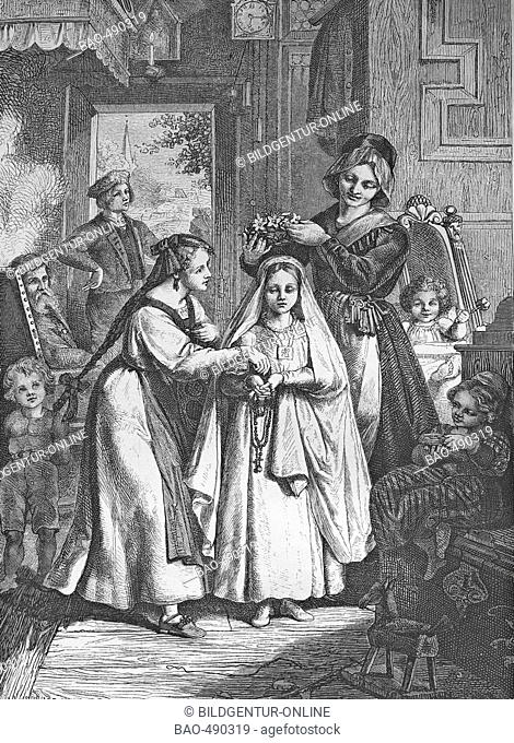 Communion, historic steel engraving from 1860