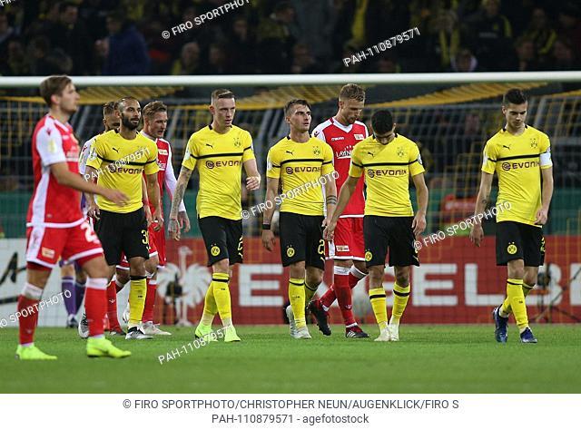 firo: 31.10.2018, football, DFB Cup, season 2018/2019, BVB, Borussia Dortmund - Union Berlin, final jubilation, exhaustion, facial expressions, Omer TOPRAK