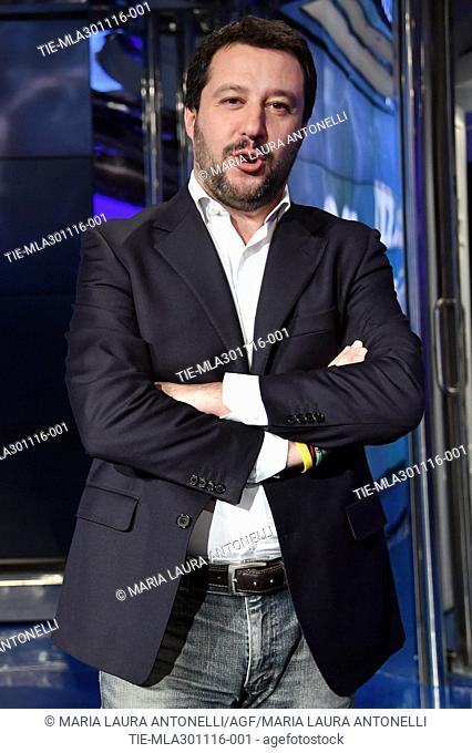Secretary of Lega Nord Matteo Salvini guest at tv show Porta a porta, Rome, ITALY-30-11-2016