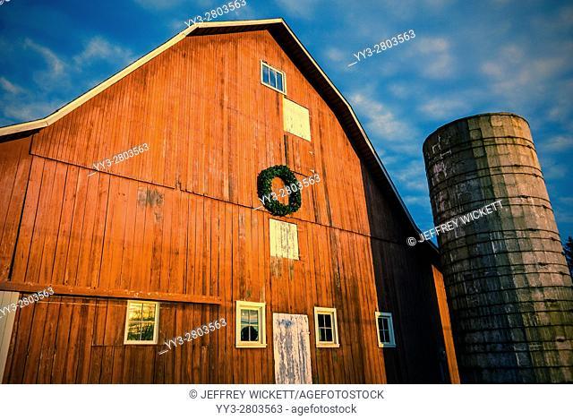 Red barn and silo near Sheridan, Indian, USA