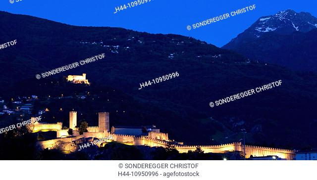 Switzerland, Europe, night, dark, castle, canton, TI, Ticino, Southern Switzerland, panorama, castles, fortress, Bellinzona