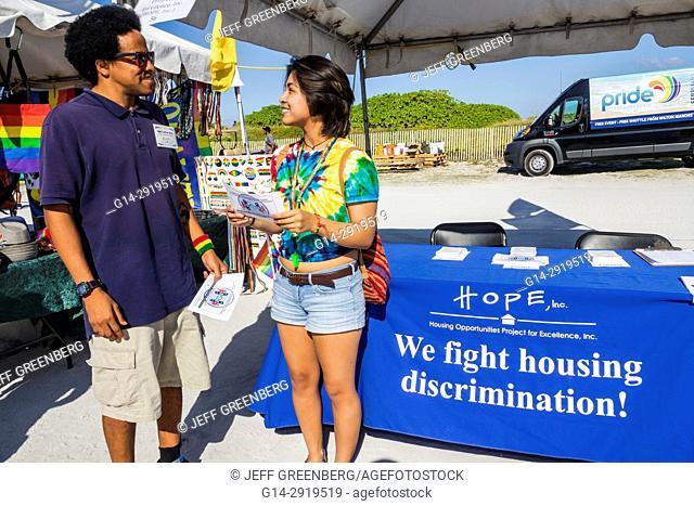 Florida, Miami Beach, Lummus Park, Gay Pride Week, LGBTQ, LGBT, Miami Beach Pride Festival, information booth, housing discrimination, HOPE