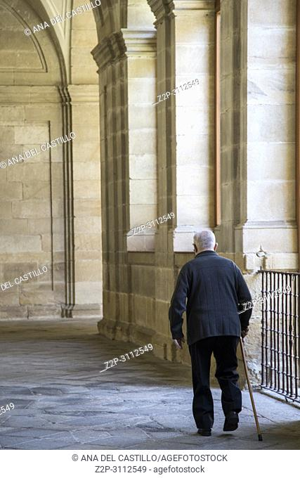 Interior of the Zamora cathedral on June 3, 2018 Castile Leon Spain. Aged man at cloister
