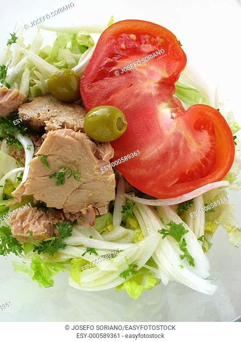 Tomato salad, tuna, onions, lettuce and parsley