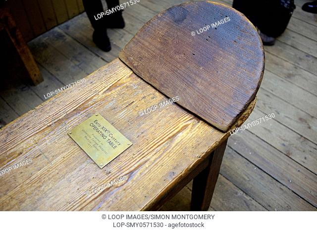 An old operating table in the The Old Operating Theatre Museum