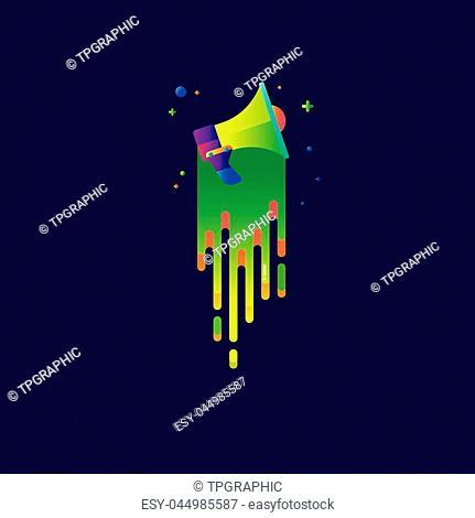 icon Megaphone rainbow Beautiful colorful Light illustration sign symbol for web, modern design vector on blue background. logo