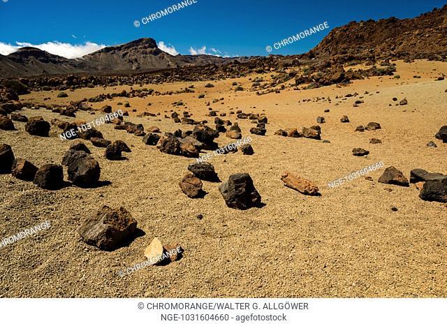Vulkanlandschaft, Hochebene, Parque Nacional de las Cañadas del Teide, Teide-Nationalpark, UNESCO Weltnaturerbe, Teneriffa, Kanarische Inseln, Spanien, Europa