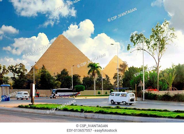 Great Pyramids ,suburb of Cairo city. Egypt