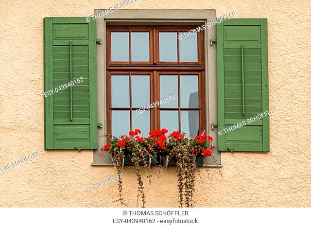 Window with green shutters and a flower box with red flowers