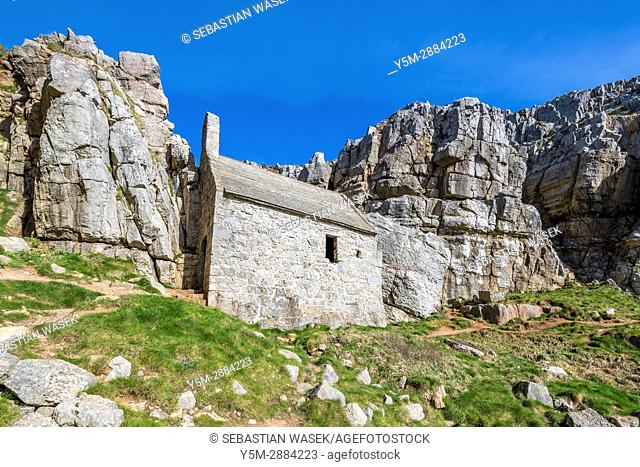 St Govan's Chapel, a 13th century Scheduled Ancient Monument in the Pembrokeshire Coast National Park, Wales, UK, Europe