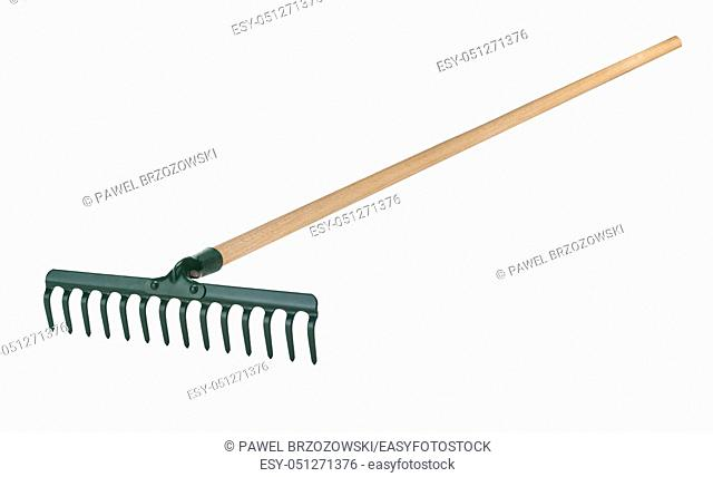 Metal rake with wooden handle isolated on white background