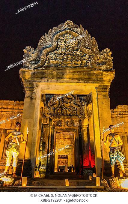 Banteay Samre Temple at night, Angkor Wat, Siem Reap Province, Cambodia (Khmer)