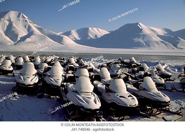 Skidoo rental depot Longyearbyen Spitsbergen Island Svalbard Norwegian Arctic