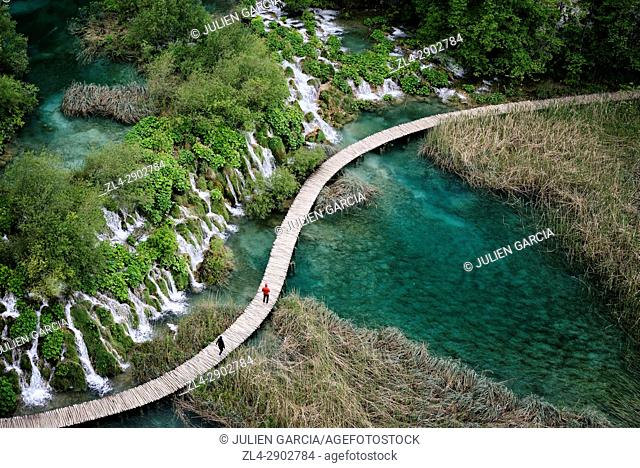 Croatia, Plitvice lakes National Park, listed as World Heritage by UNESCO, lower lakes