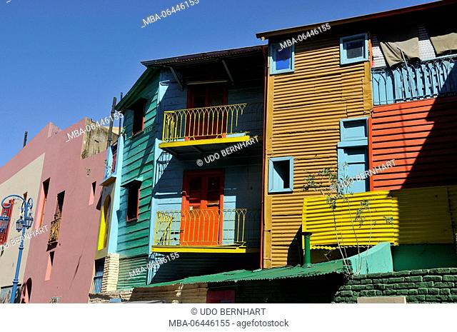 South America, Argentina, Buenos Aires, part of town La Boca, coloured house facades