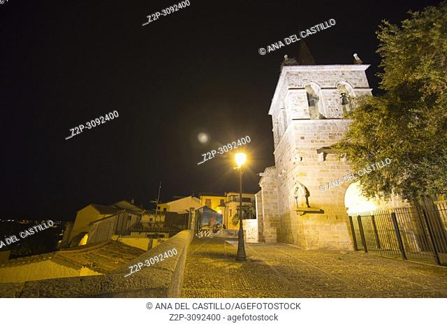 Zamora city Castile and Leon Spain . San Cipriano church at night