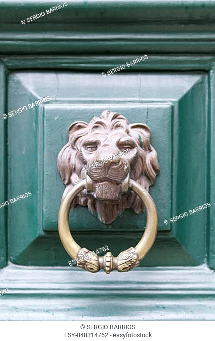 Caller shaped golden lion, detail of an ancient decorated door, ancient art