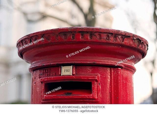 Red postbox closeup,London,England