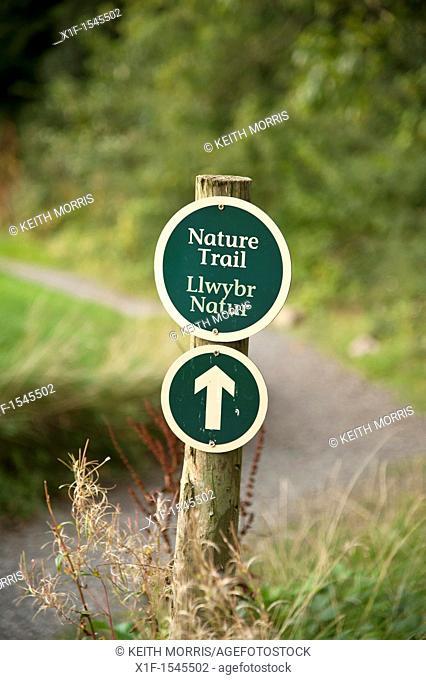Bilingual welsh english nature trail sign Bluestone National Park resort holiday vacation centre, pembrokeshire west wales uk