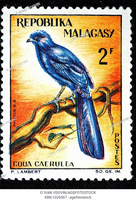 Goua caerulea, postage stamp, Madagascar Malagasy republic