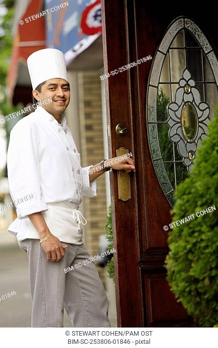 Chef walking into a restaurant
