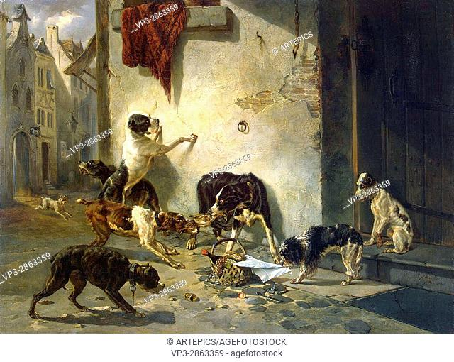 Joseph Stevens . Dog carrying dinner to its master. 1846 . Hermitage State Museum - St Pétersburg