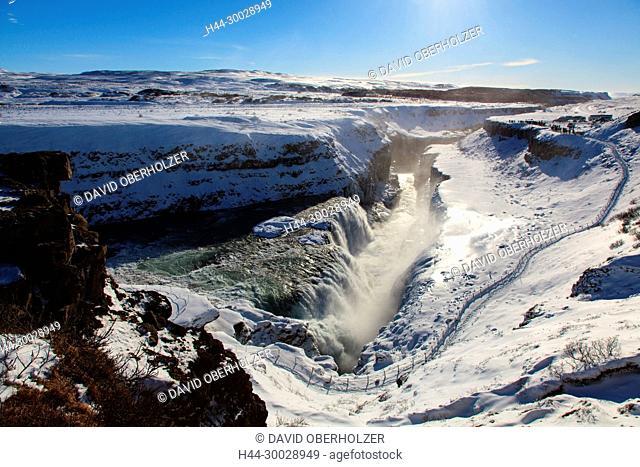 Europe, Gullfoss, Island, sceneries, snow, volcano island, water, waterfall, winter