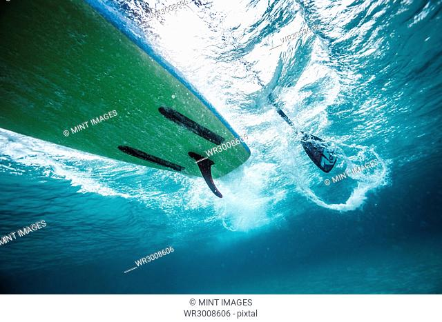 A shot of a paddleboard taken underwater