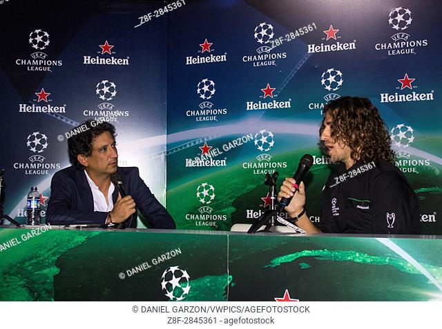 Carlos Puyol during the press conference at the UEFA Champions League Trophy Tour in Bogota on March 30, 2017