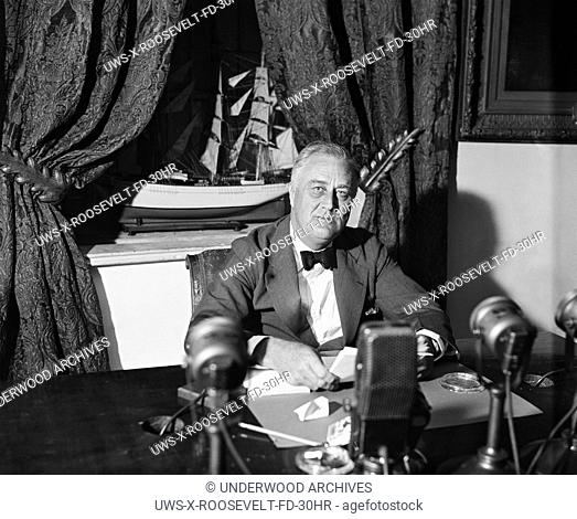 Washington, D.C.:  September 6, 1936 President Franklin Delano Roosevelt delivering one of his thirty fireside chats