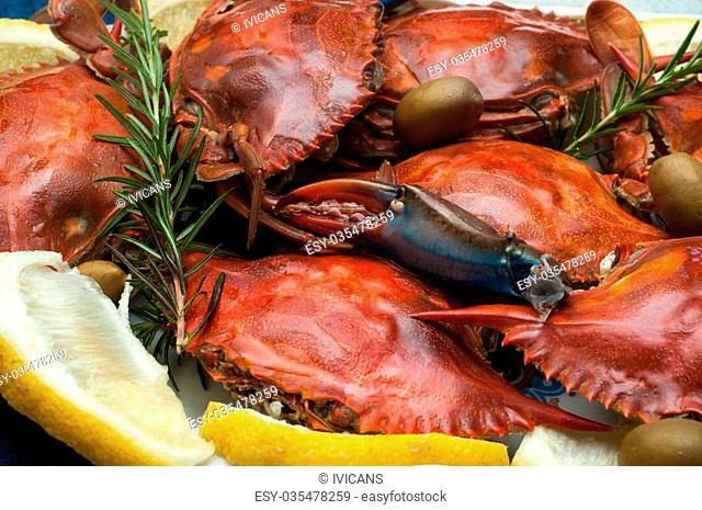 Dish with cooked crabs and lemon, olive and rosemary