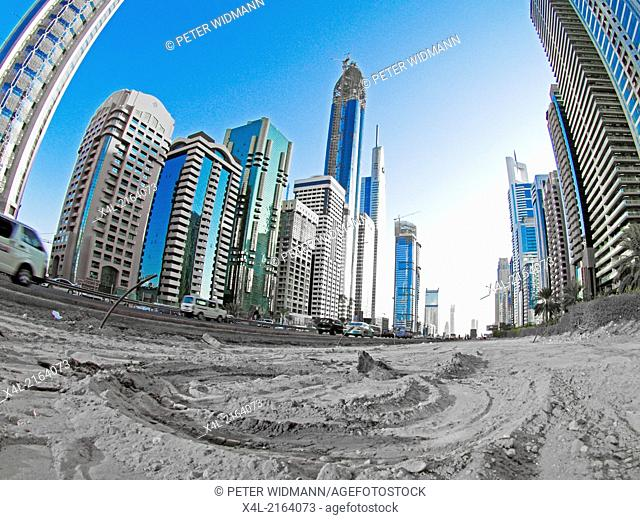 Dubai, Sheik Zayed Road, modern skyline, built on sand, United Arab Emirates