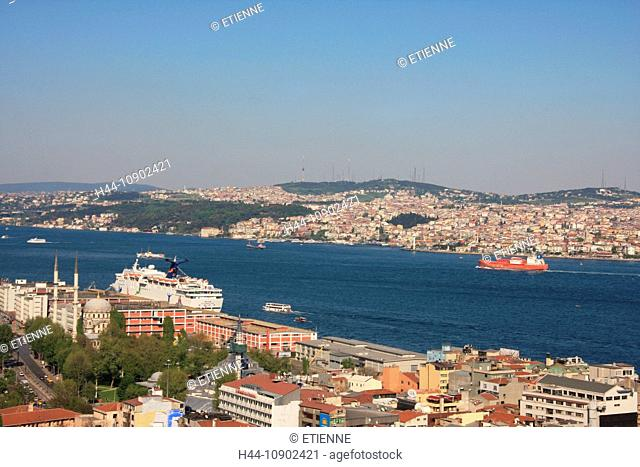Istanbul, Turkey, overview, Bosporus, Asia, canal, channel, Beyoglu, town, city, roofs, travel, tourism