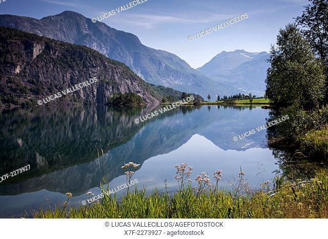 Strynsvatnet lake near the village Hjelle, Sogn og Fjordane, Norway