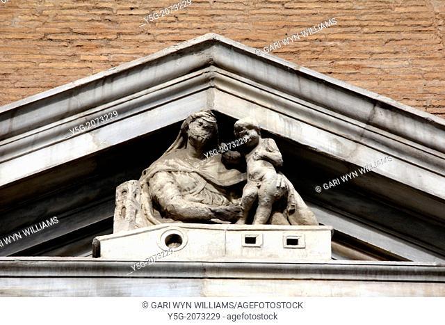 sculpture on the facade of Santa Maria di Loreto church by piazza venezia square in Rome Italy