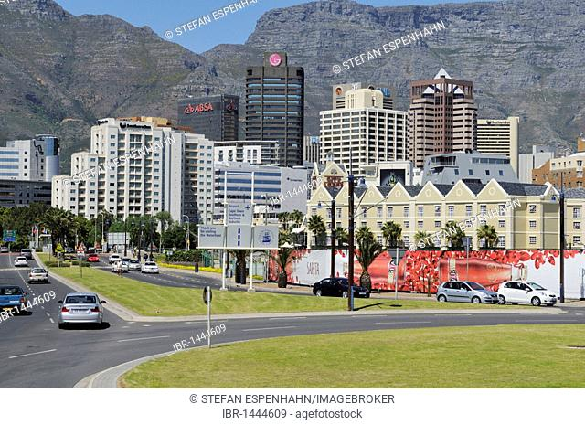High-rise buildings in downtown Cape Town in front of Table Mountain, Foreshore, Cape Town, Western Cape, South Africa, Africa