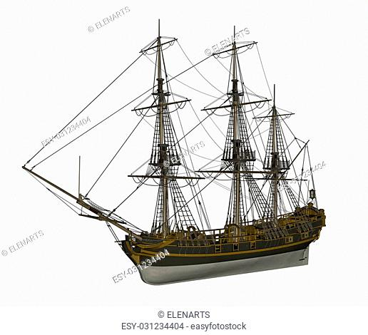 Beautiful detailed old Licorne ship isolated in white background - 3D render