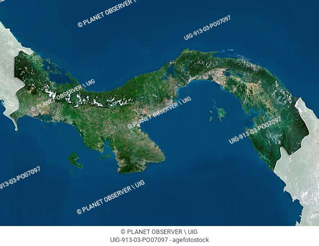 Satellite view of Panama (with country boundaries and mask). This image was compiled from data acquired by Landsat satellites