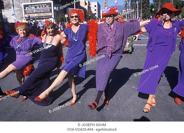 Women marching in the Doo Dah Parade, Pasadena, California