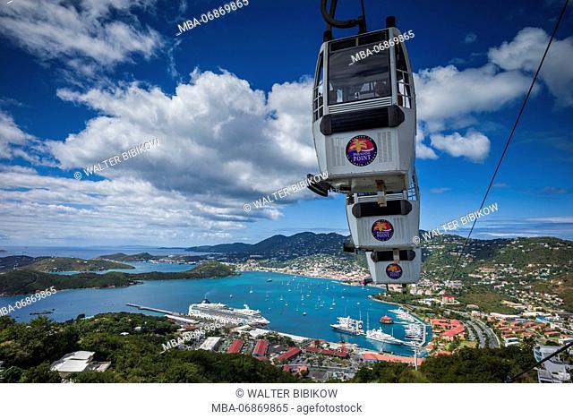 U.S. Virgin Islands, St. Thomas, Charlotte Amalie, Havensight Cruiseship Port from Paradise Point with St. Thomas Skyride tram