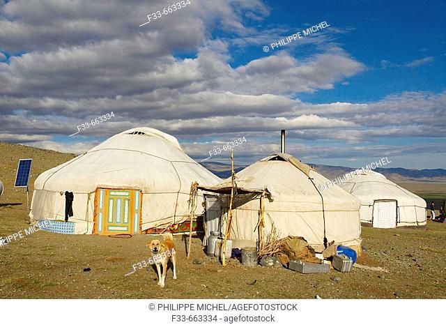 Mongolia. Bayan Olgii province. Kazak yurt camp on the Tsambagarav National Parc. Kazak population