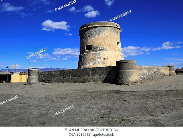 Eighteenth century fortified tower at Cabo de Gata village, Cabo de Gata national park, Nijar, Almeria, Spain